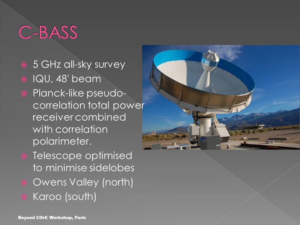  5 GHz all-sky survey  IQU, 48′ beam  Planck-like pseudo- correlation total power receiver combined with correlation polarimeter.  Telescope optim