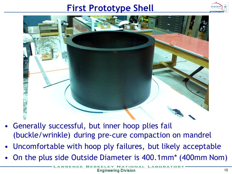 Engineering Division First Prototype Shell Generally successful, but inner hoop plies fail (buckle/wrinkle) during pre-cure compaction on mandrel Unco