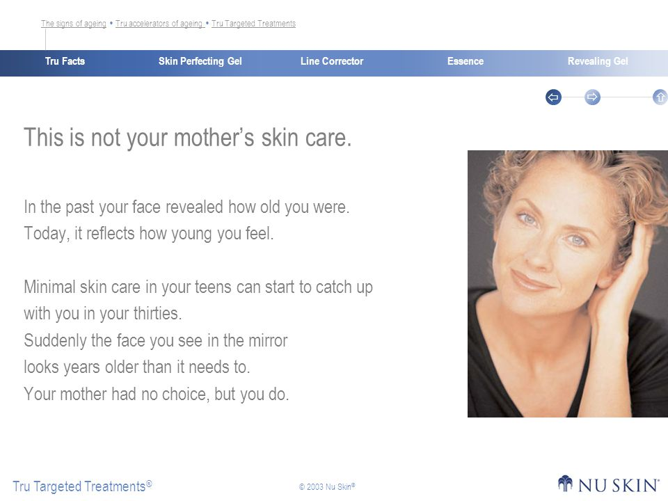 Skin Perfecting GelTru FactsEssenceRevealing Gel Tru Targeted Treatments ®    © 2003 Nu Skin ® Line Corrector This is not your mother's skin care.