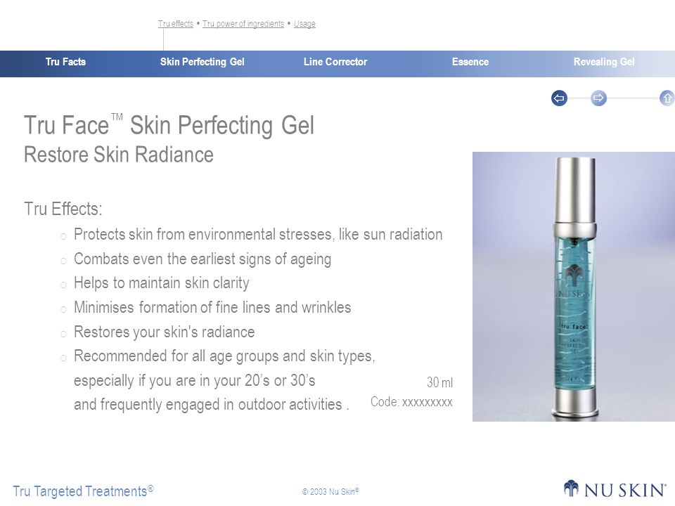 Skin Perfecting GelTru FactsEssenceRevealing Gel Tru Targeted Treatments ®    © 2003 Nu Skin ® Line Corrector 30 ml Code: xxxxxxxxx Tru effectsTru effects  Tru power of ingredients  UsageTru power of ingredientsUsage Tru Face ™ Skin Perfecting Gel Restore Skin Radiance Tru Effects:  Protects skin from environmental stresses, like sun radiation  Combats even the earliest signs of ageing  Helps to maintain skin clarity  Minimises formation of fine lines and wrinkles  Restores your skin s radiance  Recommended for all age groups and skin types, especially if you are in your 20's or 30's and frequently engaged in outdoor activities.