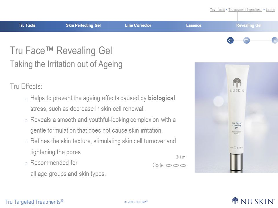 Skin Perfecting GelTru FactsEssenceRevealing Gel Tru Targeted Treatments ®    © 2003 Nu Skin ® Line Corrector Tru Face™ Revealing Gel Taking the Irritation out of Ageing Tru Effects:  Helps to prevent the ageing effects caused by biological stress, such as decrease in skin cell renewal.