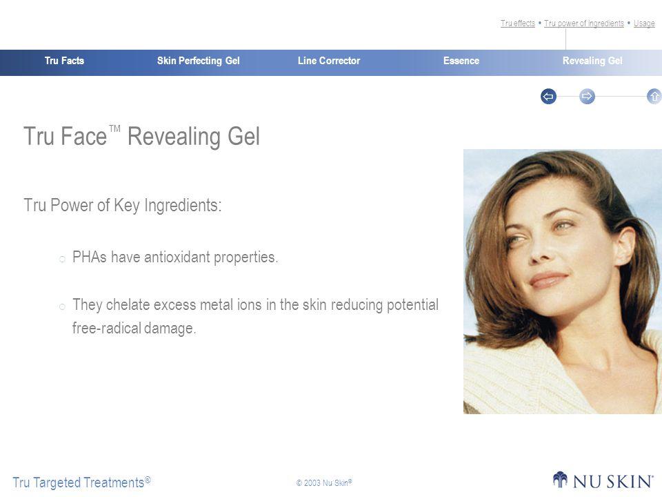 Skin Perfecting GelTru FactsEssenceRevealing Gel Tru Targeted Treatments ®    © 2003 Nu Skin ® Line Corrector Tru Face ™ Revealing Gel Tru Power of Key Ingredients:  PHAs have antioxidant properties.