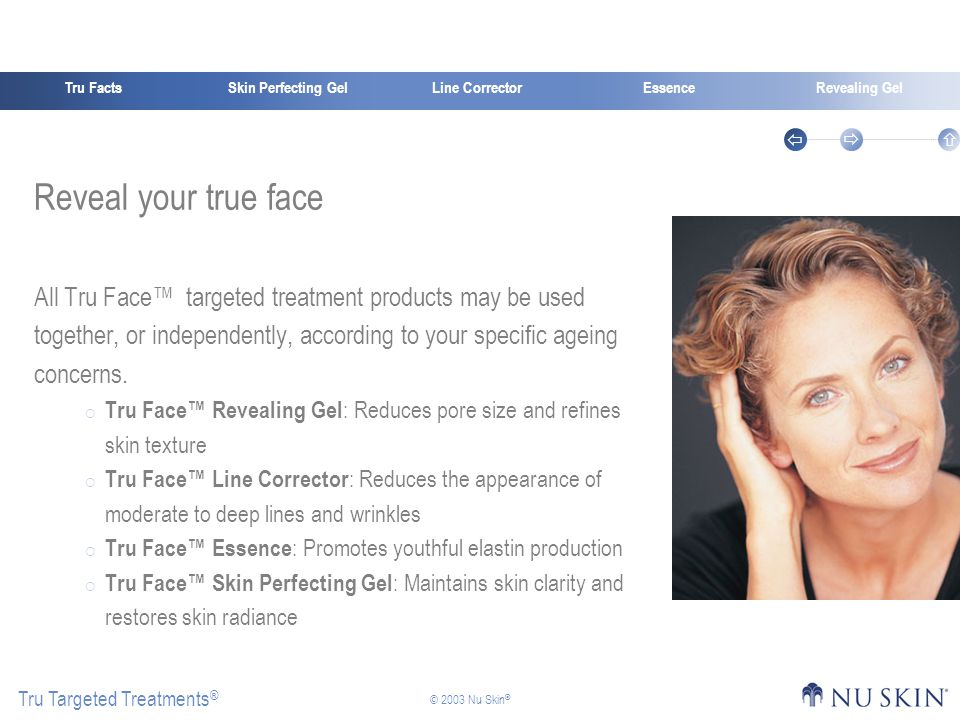 Skin Perfecting GelTru FactsEssenceRevealing Gel Tru Targeted Treatments ®    © 2003 Nu Skin ® Line Corrector Reveal your true face All Tru Face™ targeted treatment products may be used together, or independently, according to your specific ageing concerns.