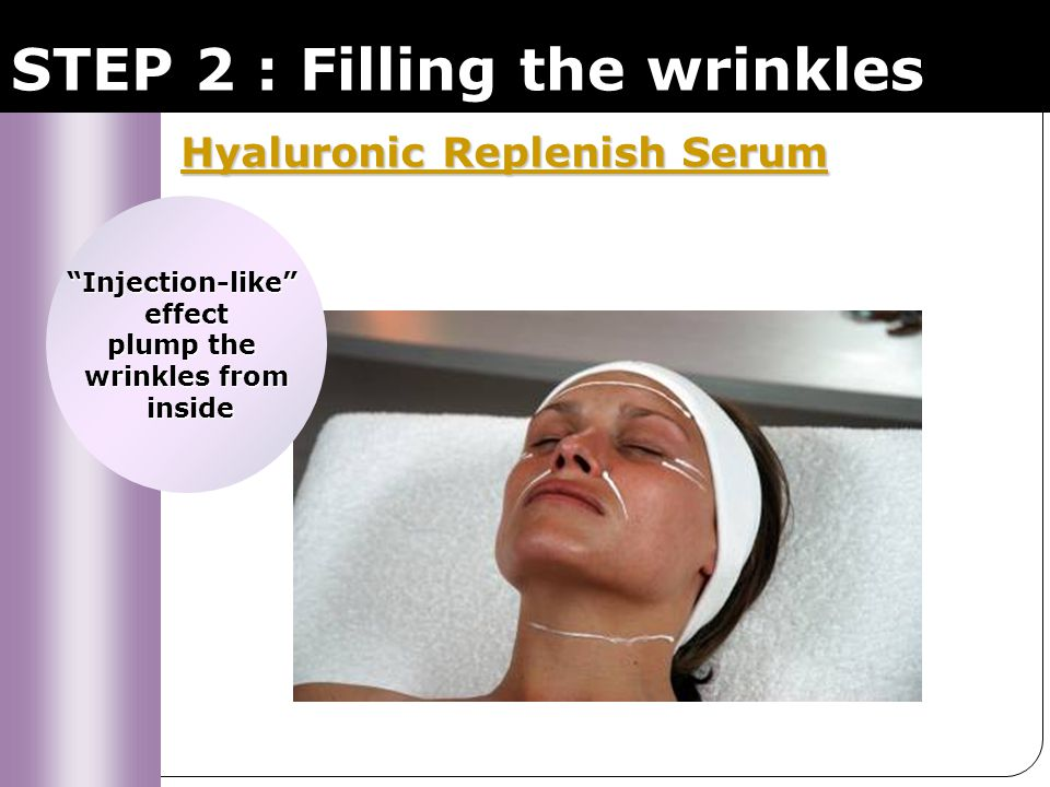 STEP 2 : Filling the wrinkles Hyaluronic Replenish Serum Hyaluronic Replenish Serum Hyaluronic acid - natural filler of the skin Increases dermal density, hygroscopic, retains water in the dermis = Wrinkles are visibly filled.