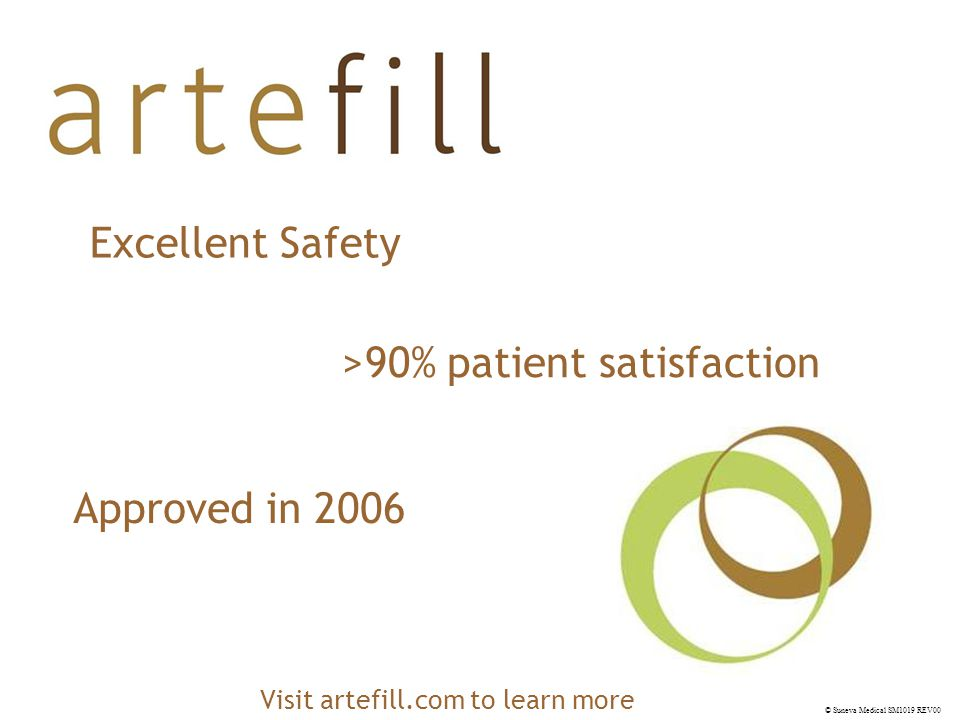 © Suneva Medical SM1019 REV00 Excellent Safety Approved in 2006 >90% patient satisfaction Visit artefill.com to learn more