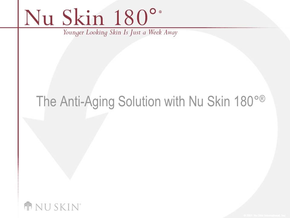 © 2001 Nu Skin International, Inc The Anti-Aging Solution with Nu Skin 180° ®