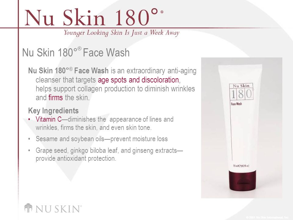 © 2001 Nu Skin International, Inc Nu Skin 180 ° ® Face Wash Nu Skin 180° ® Face Wash is an extraordinary anti-aging cleanser that targets age spots and discoloration, helps support collagen production to diminish wrinkles and firms the skin.