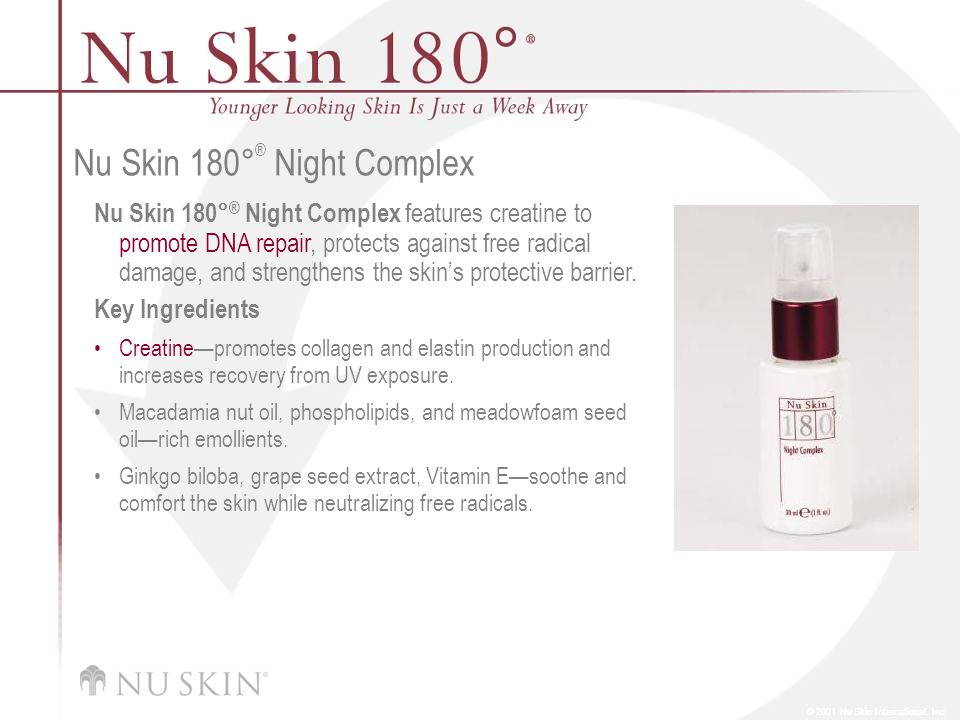 © 2001 Nu Skin International, Inc Nu Skin 180 ° ® Night Complex Nu Skin 180° ® Night Complex features creatine to promote DNA repair, protects against free radical damage, and strengthens the skin's protective barrier.