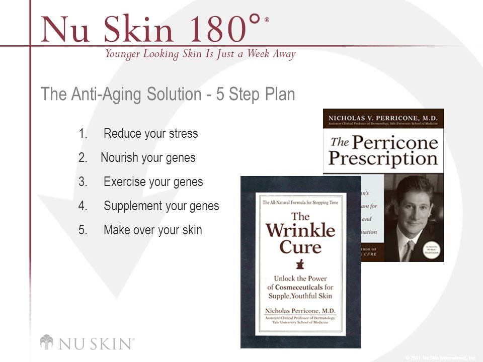 © 2001 Nu Skin International, Inc The Anti-Aging Solution - 5 Step Plan 1.