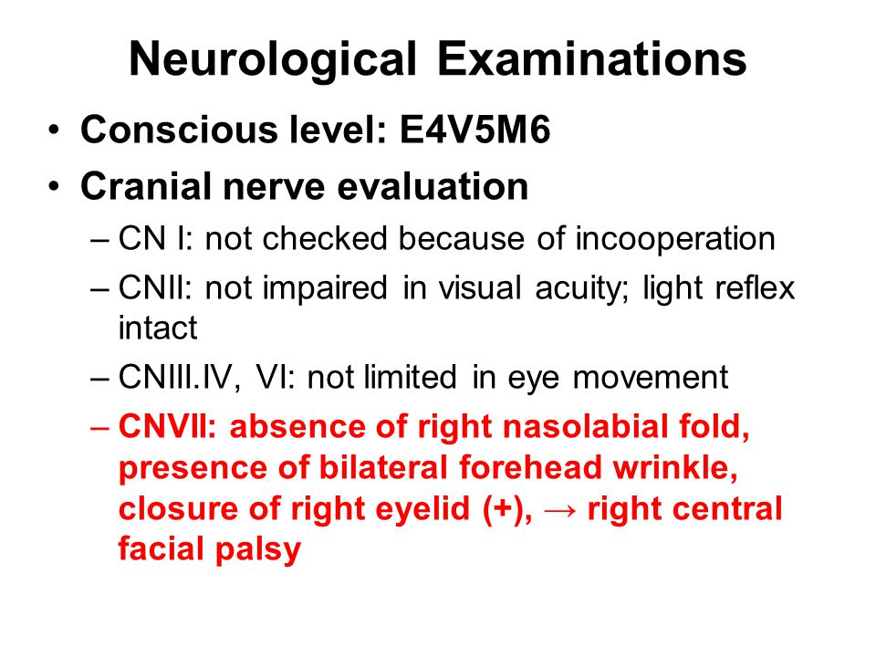 –CNVIII: auditory acuity is not checked –CN IX&X: hypernasality, difficulty in swallowing, easily chocking –CNXI: shoulder shrug OK, SCM muscle power OK –CNXII: no tongue deviation Muscle power assessment: RL: 3 points RA: 3 pointsLA: 5 points LL: 5 points