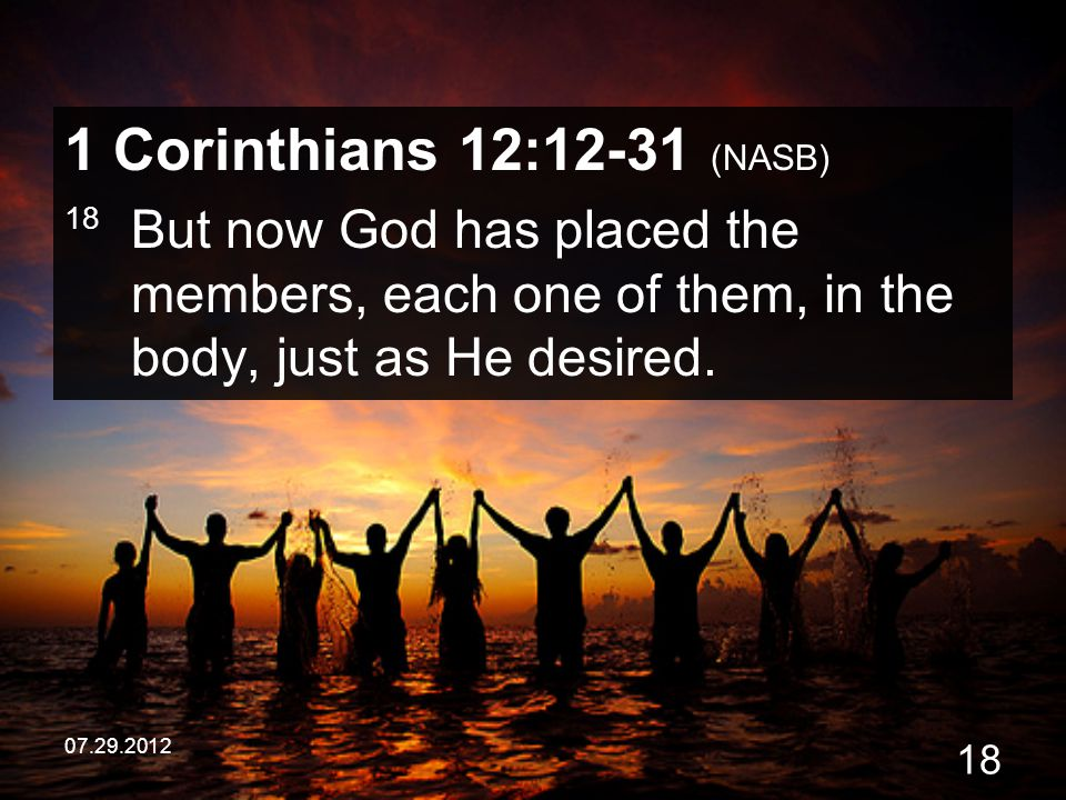 07.29.2012 18 1 Corinthians 12:12-31 (NASB) 18 But now God has placed the members, each one of them, in the body, just as He desired.