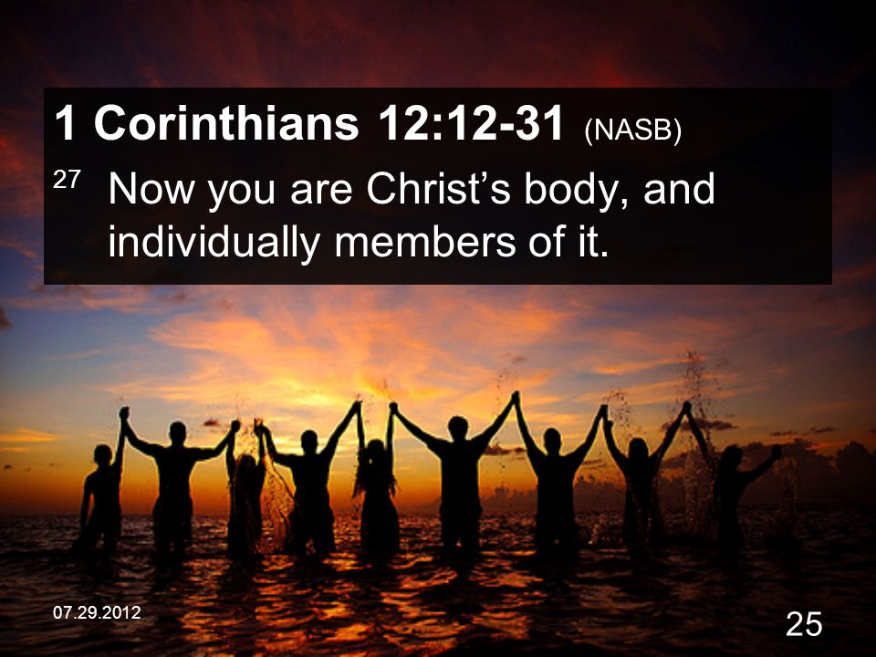 07.29.2012 25 1 Corinthians 12:12-31 (NASB) 27 Now you are Christ's body, and individually members of it.