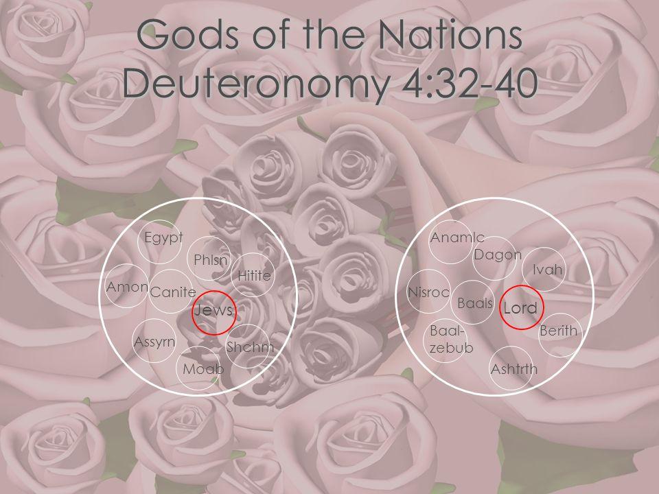 Gods of the Nations Deuteronomy 4:32-40 Jews Phlsn Egypt Amon Hitite Canite Assyrn Lord Baals Moab Shchm Dagon BerithBaal- zebub Ashtrth Nisroc Anamlc
