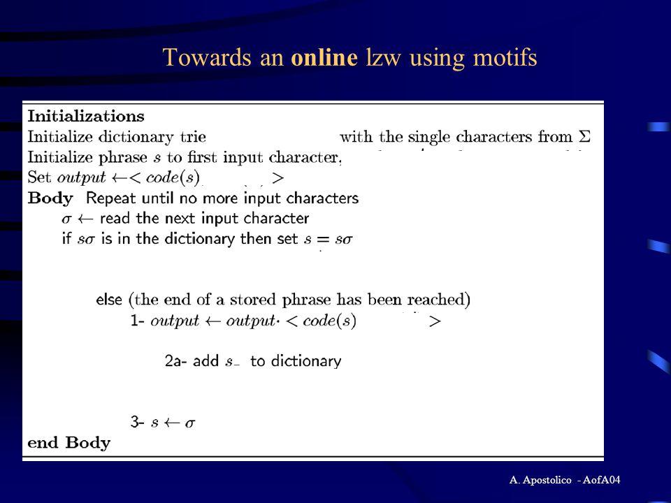 A. Apostolico - AofA04 Towards an online lzw using motifs