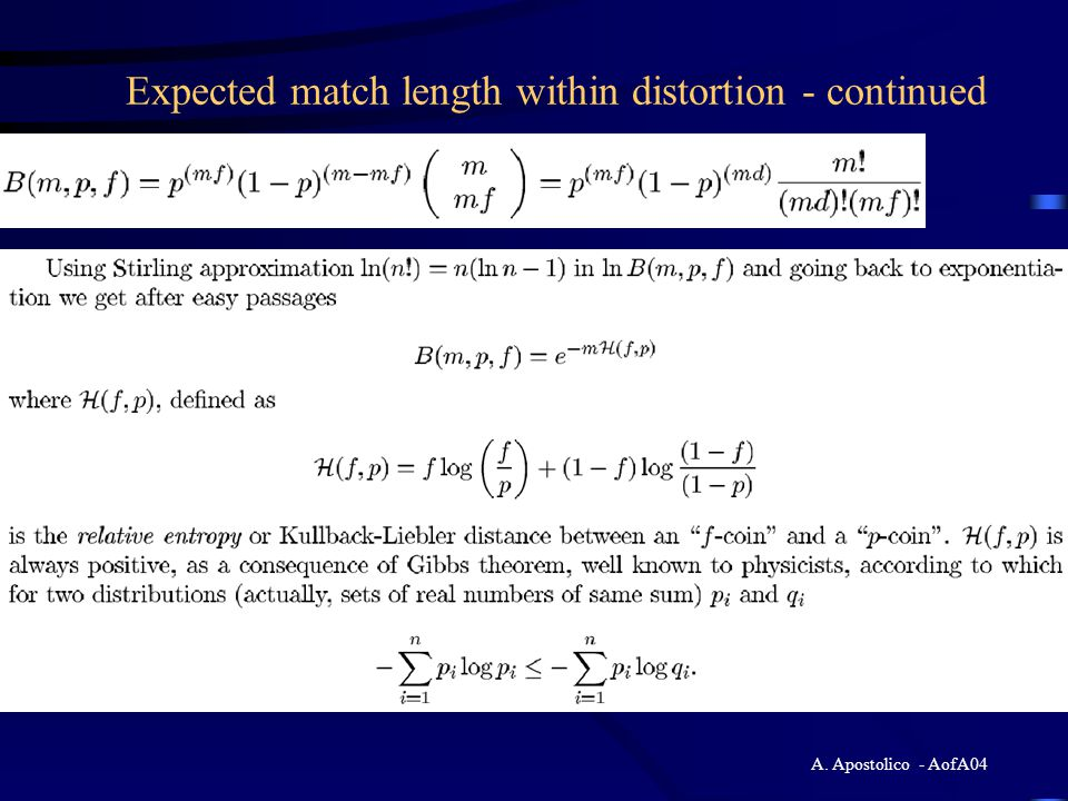 Expected match length within distortion