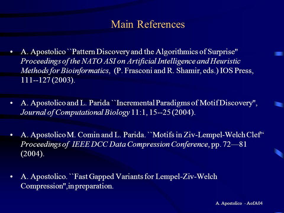 A. Apostolico - AofA04 Conclusions Analyze That'', please Thank you