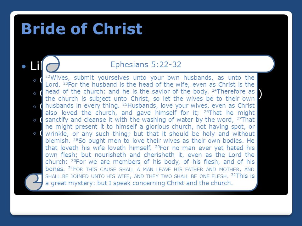 Like husbands and wives: ◦Christ is head of the church (vs 23) ◦Church submits to Christ's authority (vs 24) ◦Christ loved the church (vs 25) ◦Church