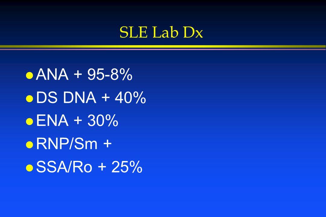 SLE Lab Dx l ANA + 95-8% l DS DNA + 40% l ENA + 30% l RNP/Sm + l SSA/Ro + 25%
