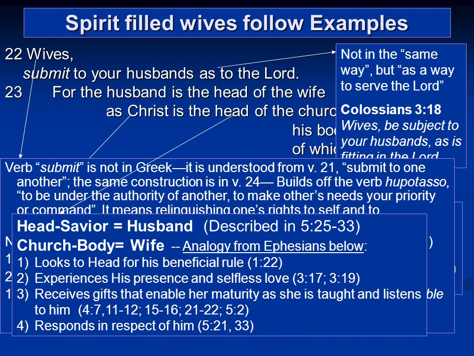 Spirit filled wives follow Examples 22 Wives, submit to your husbands as to the Lord.