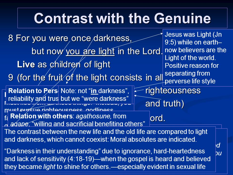 Contrast with the Genuine 8 For you were once darkness, but now you are light in the Lord.