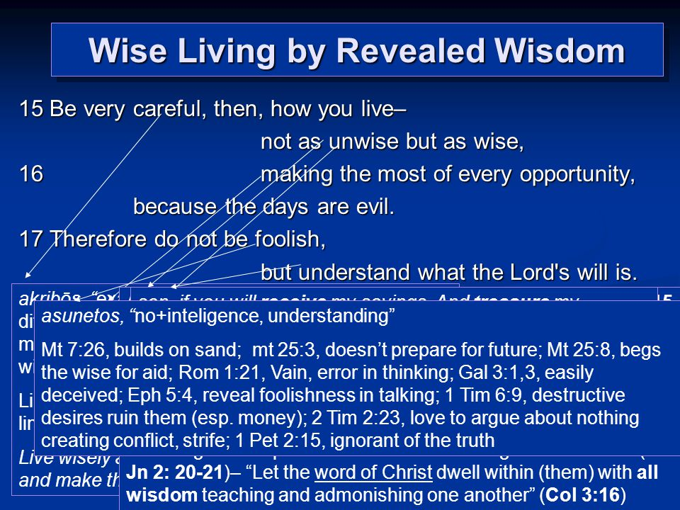 Wise Living by Revealed Wisdom 15 Be very careful, then, how you live– not as unwise but as wise, 16 making the most of every opportunity, because the days are evil.