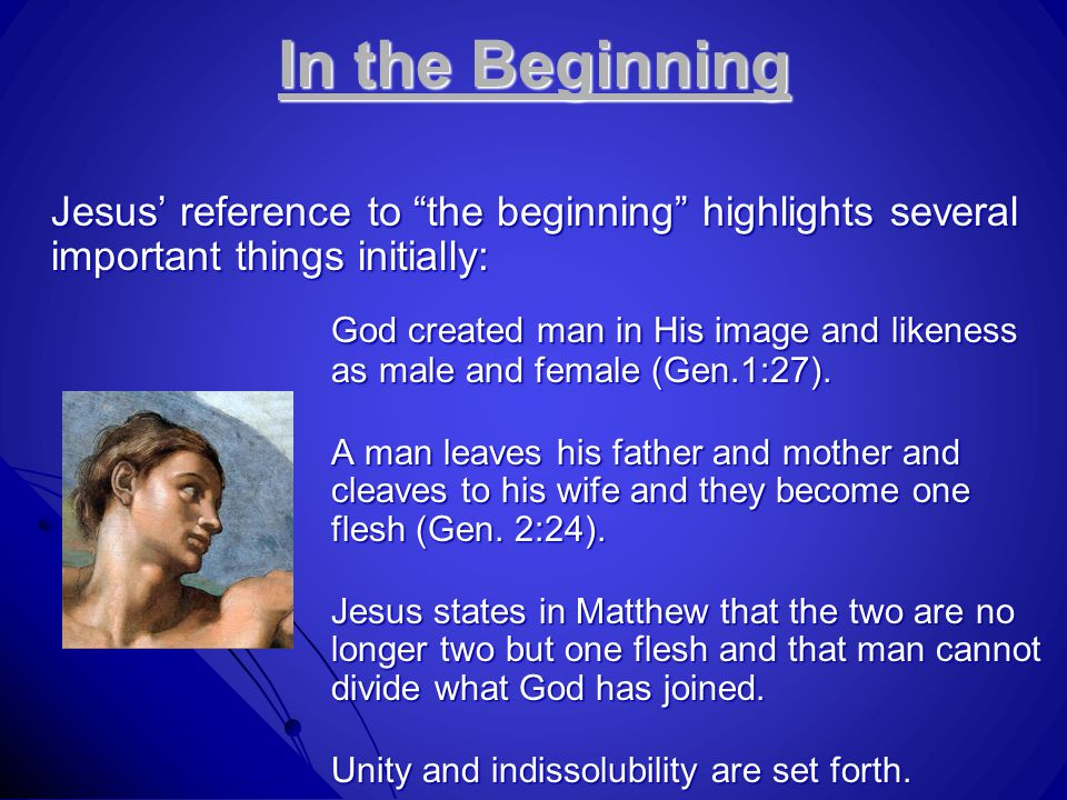 "In the Beginning Jesus' reference to ""the beginning"" highlights several important things initially: God created man in His image and likeness as male"