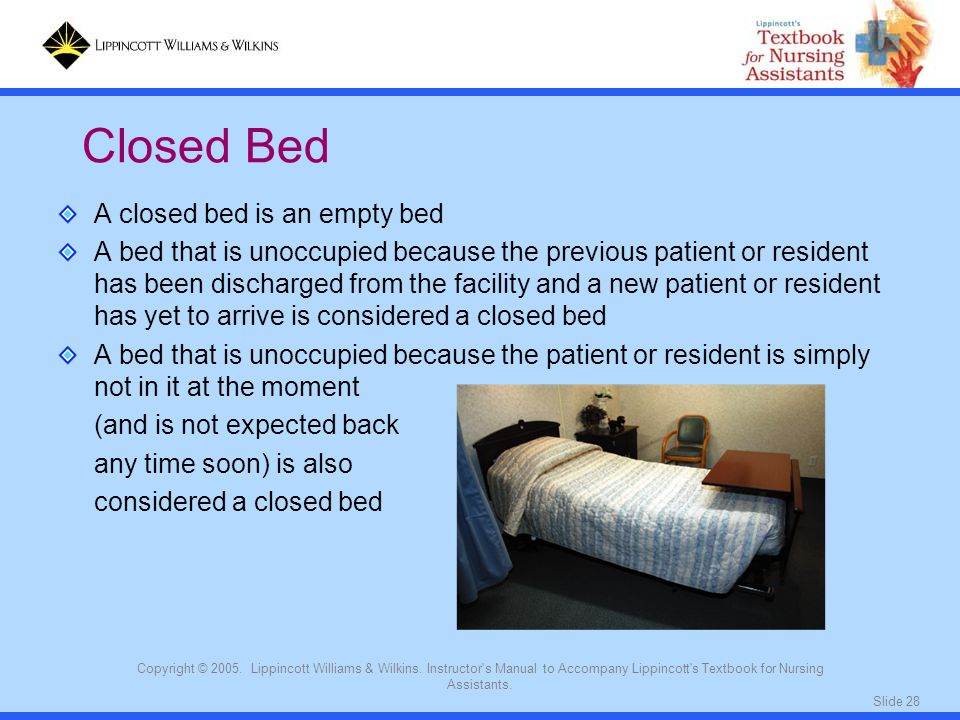Slide 28 Copyright © 2005. Lippincott Williams & Wilkins. Instructor's Manual to Accompany Lippincott's Textbook for Nursing Assistants. A closed bed