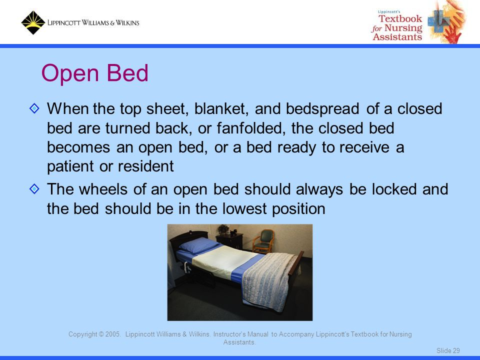 Slide 29 Copyright © 2005. Lippincott Williams & Wilkins. Instructor's Manual to Accompany Lippincott's Textbook for Nursing Assistants. When the top