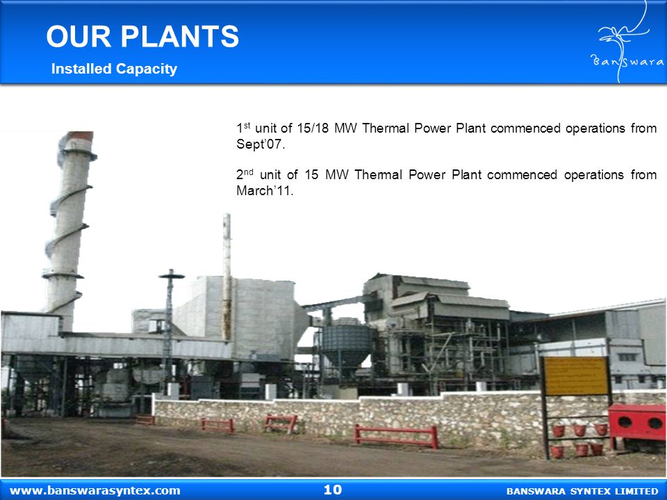 BANSWARA SYNTEX LIMITED www.banswarasyntex.com 1 st unit of 15/18 MW Thermal Power Plant commenced operations from Sept'07. 2 nd unit of 15 MW Thermal