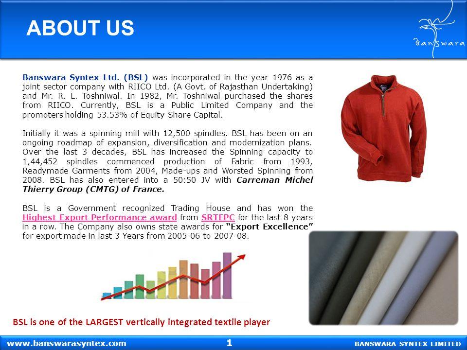 ABOUT US Banswara Syntex Ltd.
