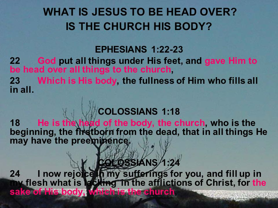 WHAT IS JESUS TO BE HEAD OVER? IS THE CHURCH HIS BODY? EPHESIANS 1:22-23 22God put all things under His feet, and gave Him to be head over all things