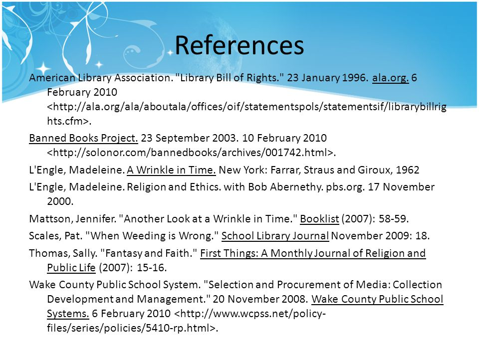 References American Library Association.