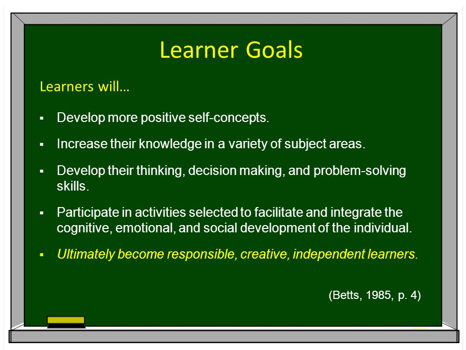 Learner Goals Learners will…  Develop more positive self-concepts.