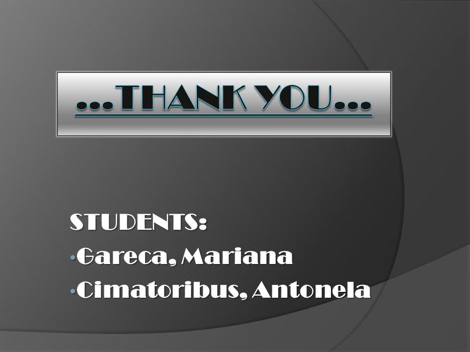 STUDENTS: Gareca, Mariana Gareca, Mariana Cimatoribus, Antonela Cimatoribus, Antonela