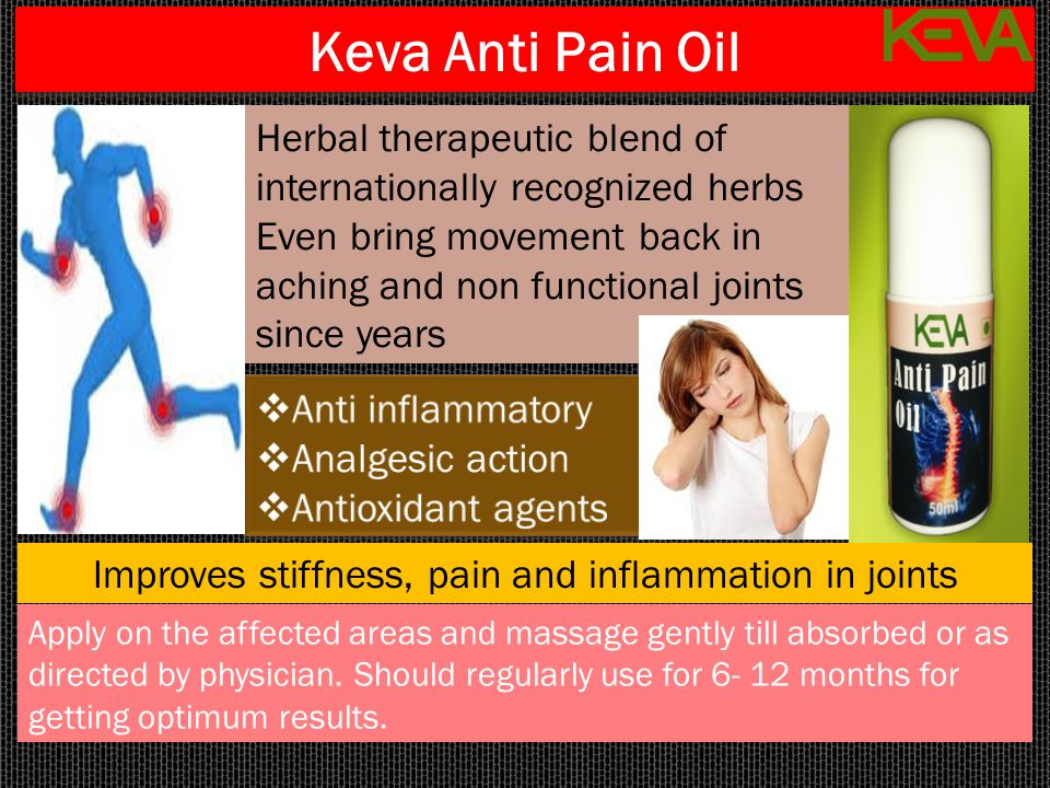 Keva Anti Pain Oil Apply on the affected areas and massage gently till absorbed or as directed by physician. Should regularly use for 6- 12 months for