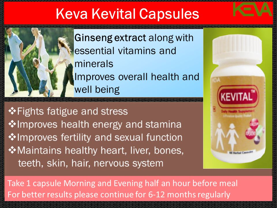 Keva Kevital Capsules Ginseng extract along with essential vitamins and minerals Improves overall health and well being Ginseng extract along with ess