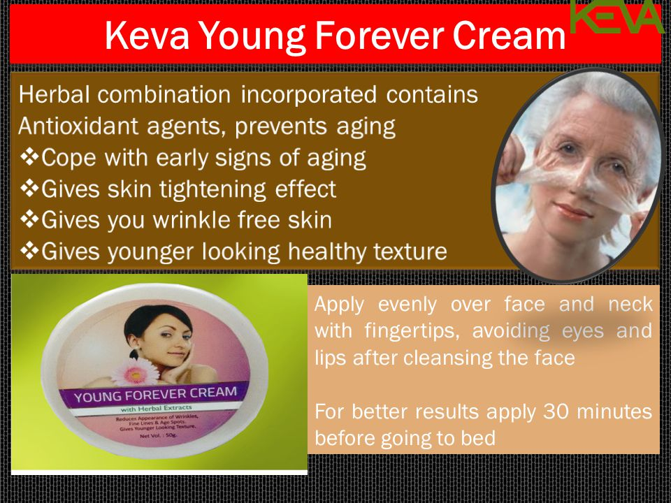 Keva Young Forever Cream Apply evenly over face and neck with fingertips, avoiding eyes and lips after cleansing the face For better results apply 30