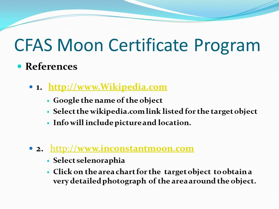 CFAS Moon Certificate Program References 1.