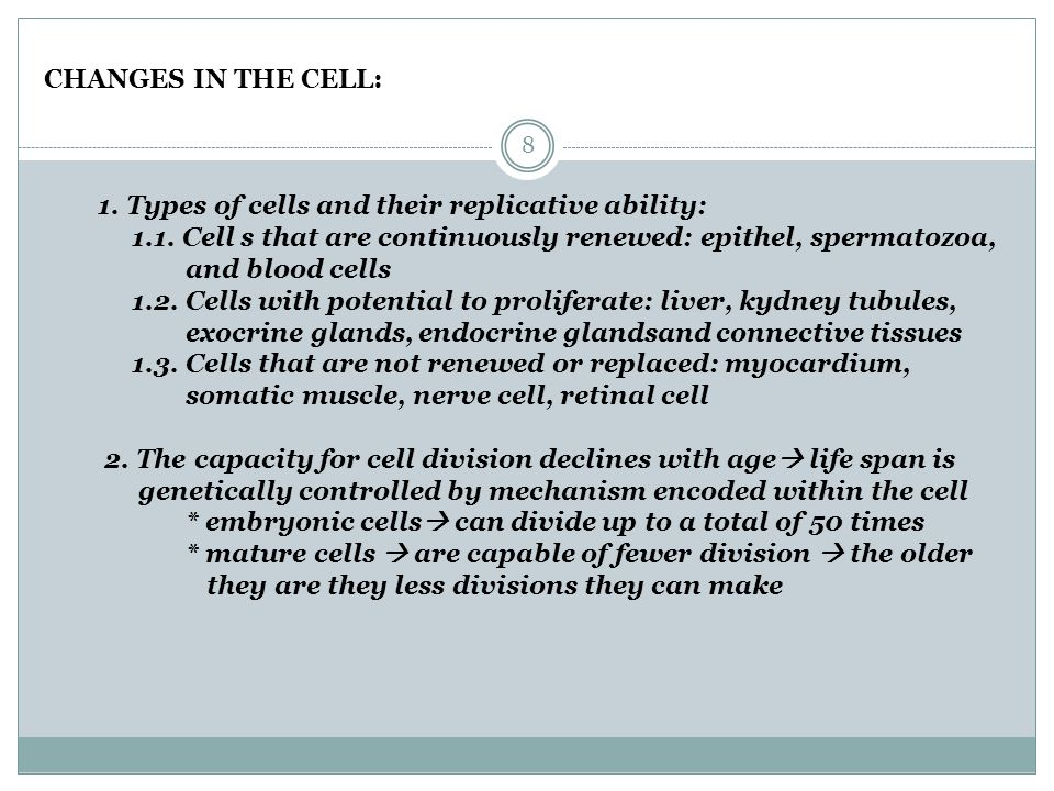 CHANGES IN THE CELL: 1.Types of cells and their replicative ability: 1.1.