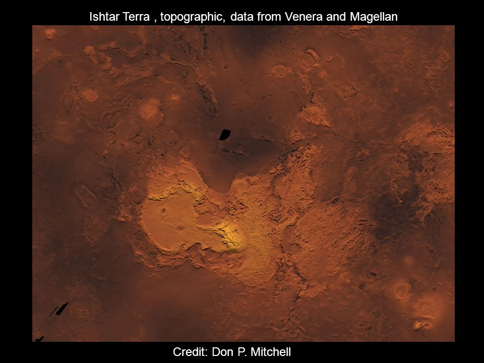 Ishtar Terra, topographic, data from Venera and Magellan