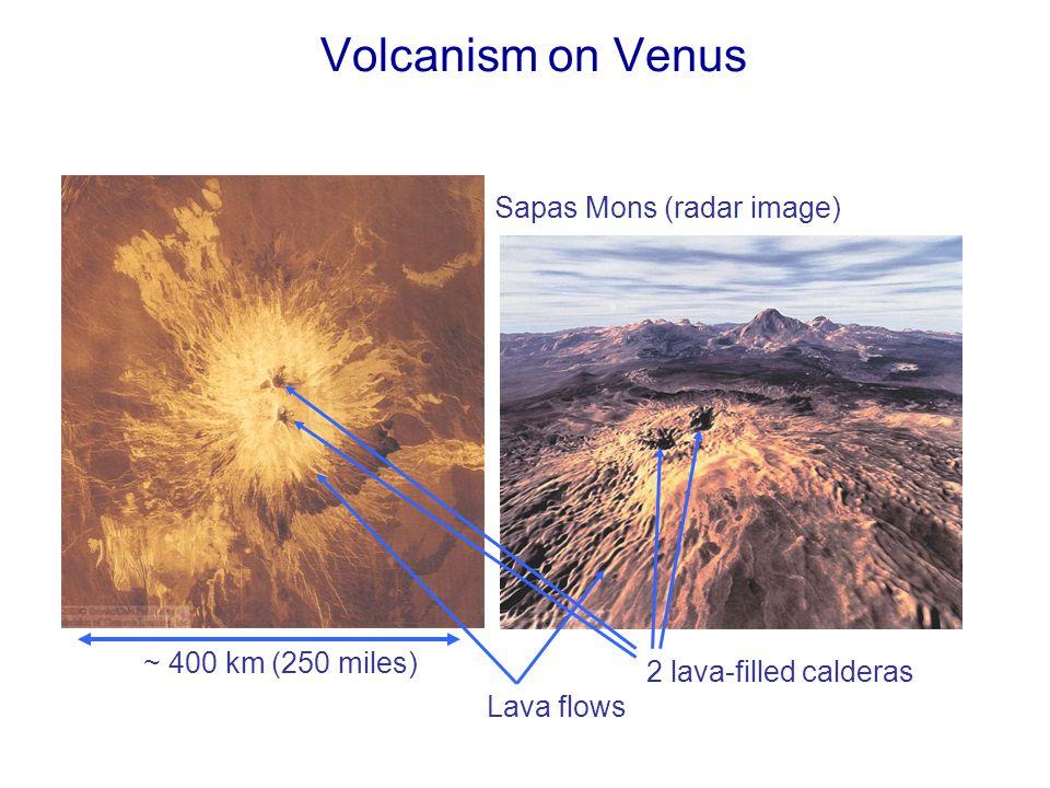 Volcanism on Venus Sapas Mons (radar image) 2 lava-filled calderas ~ 400 km (250 miles) Lava flows