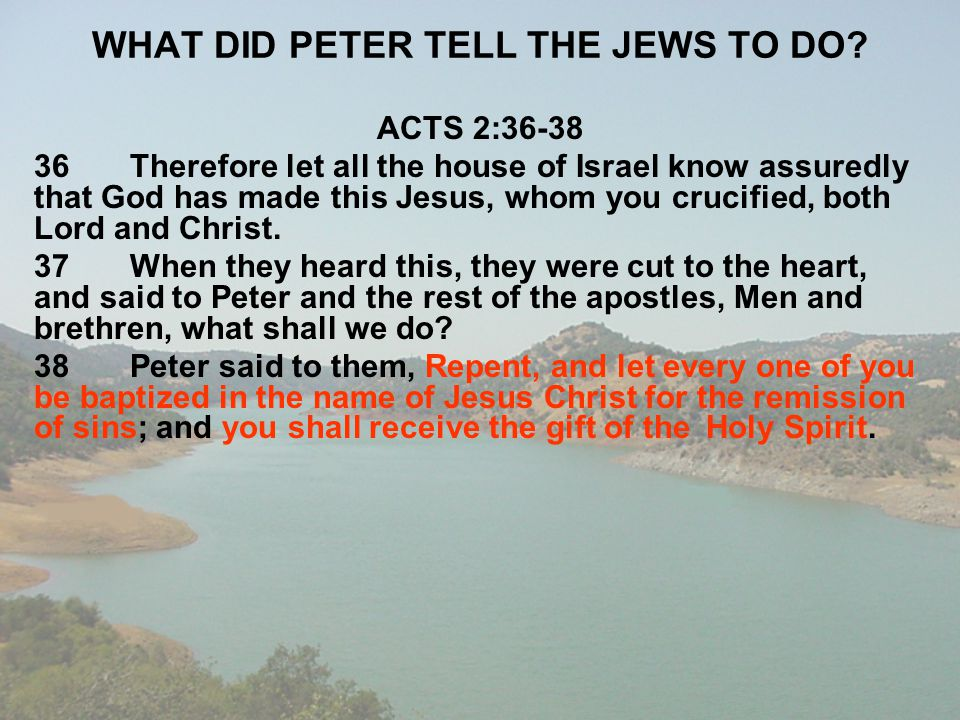 WHAT DID PETER TELL THE JEWS TO DO? ACTS 2:36-38 36Therefore let all the house of Israel know assuredly that God has made this Jesus, whom you crucifi
