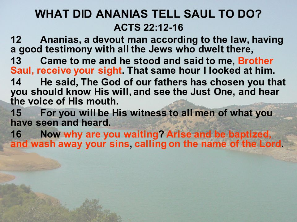 WHAT DID ANANIAS TELL SAUL TO DO? ACTS 22:12-16 12Ananias, a devout man according to the law, having a good testimony with all the Jews who dwelt ther