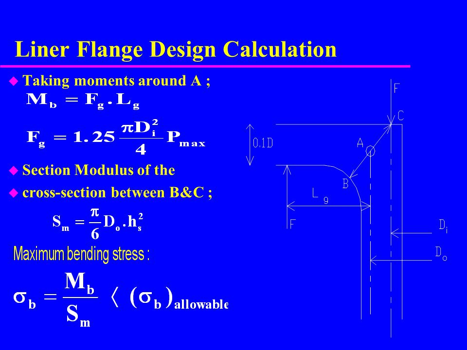Liner Flange Design Calculation u Taking moments around A ; u Section Modulus of the u cross-section between B&C ;