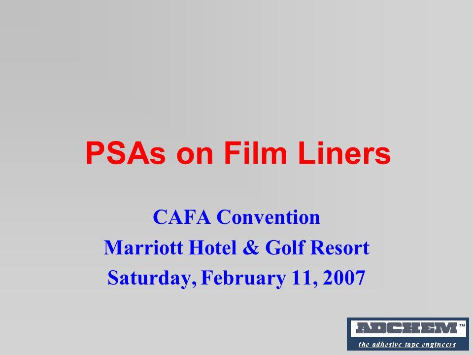 PSAs on Film Liners CAFA Convention Marriott Hotel & Golf Resort Saturday, February 11, 2007