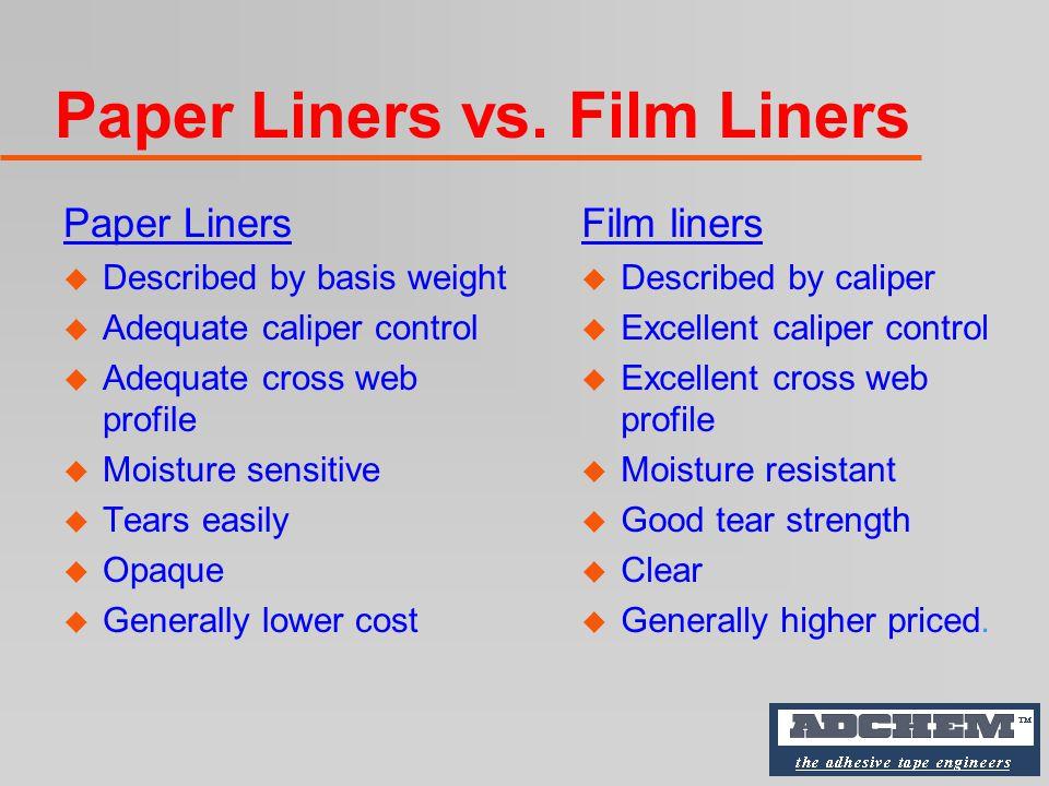 Typical Silicone-Coated Release Liners u 55 lb.Densified Kraft (SCK) u 60 lb.