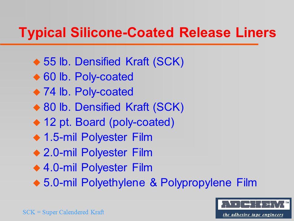 Typical Silicone-Coated Release Liners u 55 lb. Densified Kraft (SCK) u 60 lb.