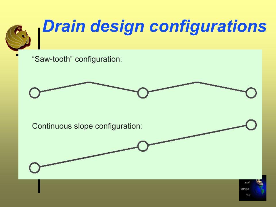 Drain design configurations