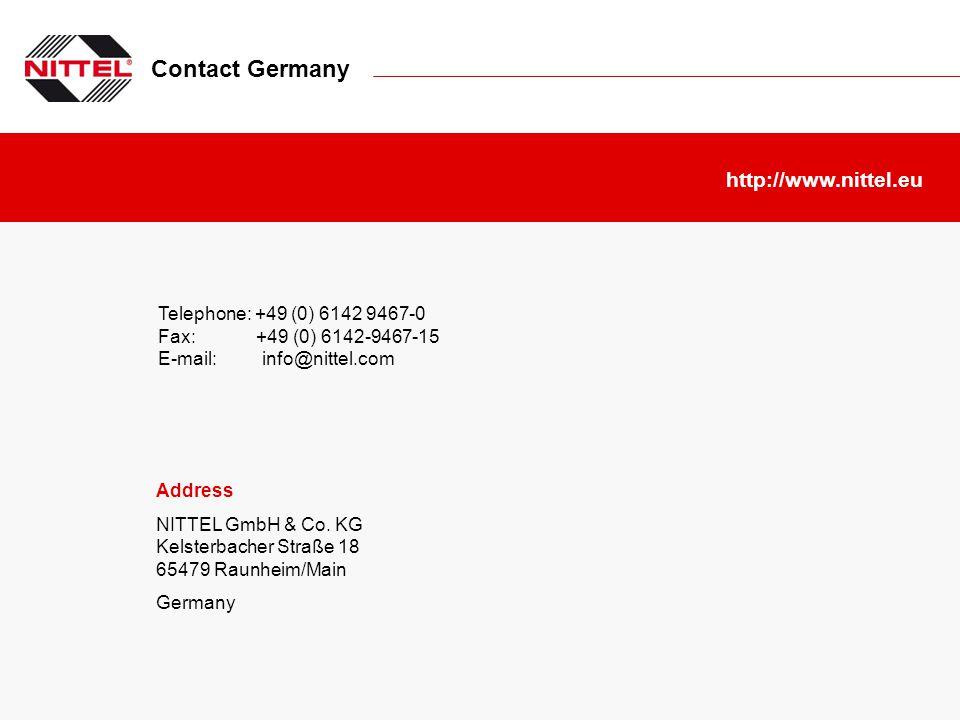 Contact Germany Telephone: +49 (0) 6142 9467-0 Fax: +49 (0) 6142-9467-15 E-mail: info@nittel.com http://www.nittel.eu Address NITTEL GmbH & Co. KG Kel
