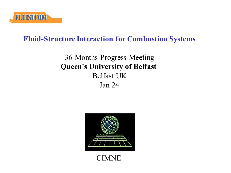CIMNE Fluid-Structure Interaction for Combustion Systems 36-Months Progress Meeting Queen s University of Belfast Belfast UK Jan 24